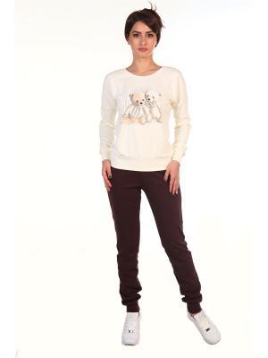 Костюм: брюки, джемпер WS. Цвет: кремовый, темно-коричневый