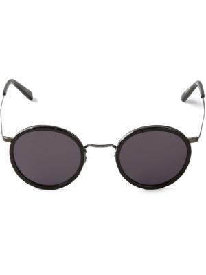 Солнцезащитные очки круглой формы Masunaga. Цвет: чёрный