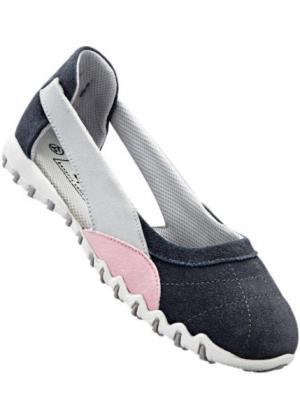 Спортивные кожаные балетки (серый/розовый) bonprix. Цвет: серый/розовый