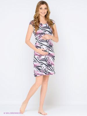 Ночная сорочка для беременных и кормления 40 недель. Цвет: розовый