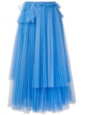 Плиссированная юбка миди Rochas. Цвет: синий