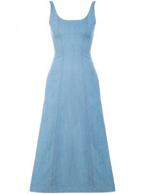 Облегающее платье без рукавов Gabriela Hearst. Цвет: синий