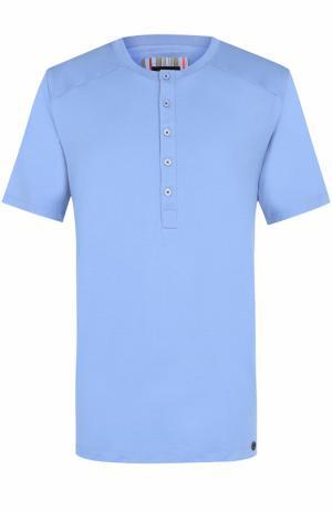 Хлопковая футболка хенли Hanro. Цвет: синий