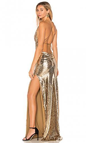 Вечернее платье fishscale dupey Gemeli Power. Цвет: металлический золотой