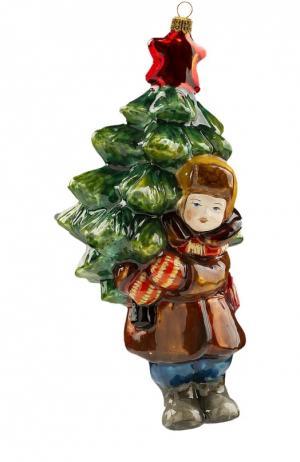 Елочная игрушка Мальчик с елкой Atlas Art. Цвет: разноцветный