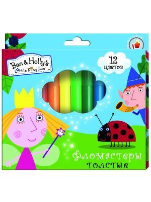 Фломастеры толстые Бен и Холли, 12 цветов Peppa Pig. Цвет: голубой