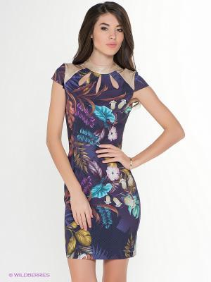 Платье TOPSANDTOPS. Цвет: индиго, бежевый