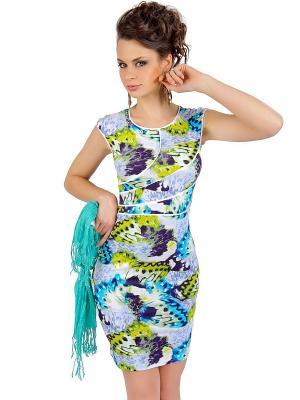 Платье Dea Fiori. Цвет: салатовый, белый, темно-синий, бирюзовый