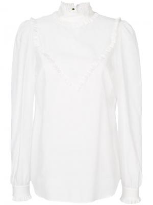 Рубашка с контрастной отделкой Veronique Branquinho. Цвет: белый