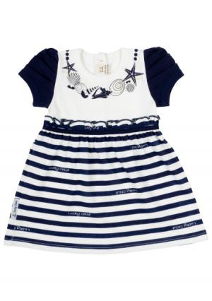 Платье Lucky child. Цвет: синий (синий, белый)