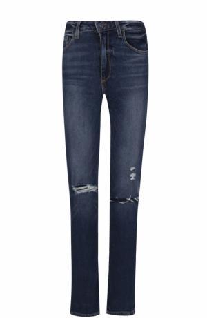Укороченные джинсы прямого кроя с потертостями Paige. Цвет: синий
