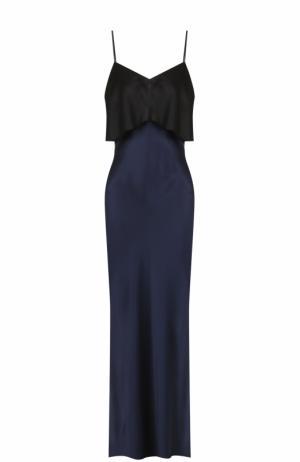 Шелковое платье-макси с контрастной оборкой Diane Von Furstenberg. Цвет: черный