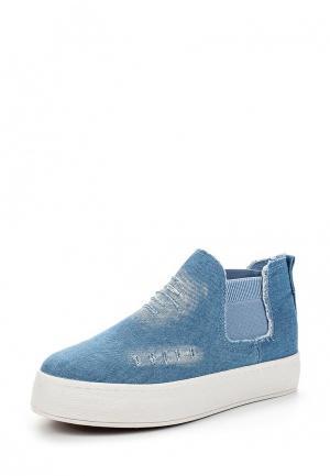 Слипоны Ideal Shoes. Цвет: голубой