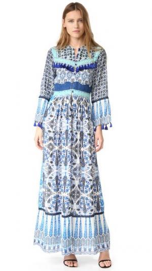Длинное платье Ceramic Hemant and Nandita. Цвет: голубой