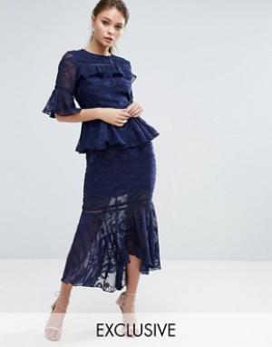 Dark Pink Многоярусное платье миди с выжженным узором и кружевными вставками Dar. Цвет: темно-синий