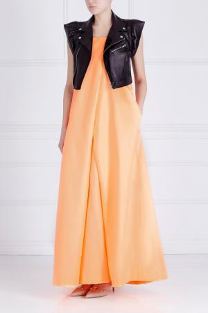 Однотонное платье Dagmar Long Designers Remix. Цвет: оранжевый