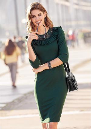 Платье Venca. Цвет: зеленый (бутылочно-зеленый)