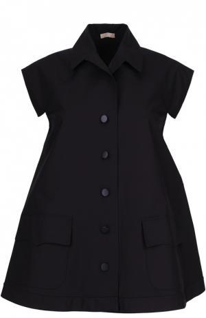 Блуза свободного кроя без рукавов с кружевной вставкой Alaia. Цвет: черный