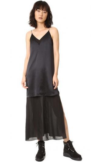 Платье-майка без рукавов с шифоновой комбинацией T by Alexander Wang. Цвет: голубой