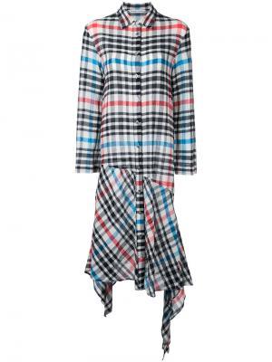 Асимметричное клетчатое платье Tsumori Chisato. Цвет: многоцветный