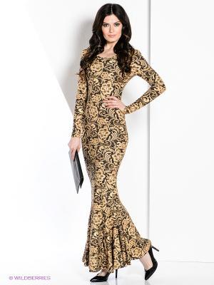 Платье МадаМ Т. Цвет: бежевый, темно-коричневый