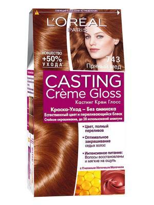Стойкая краска-уход для волос Casting Creme Gloss без аммиака, оттенок 743, Пряный мед L'Oreal Paris. Цвет: коричневый