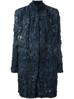 Однобортное пальто с жатым эффектом Avant Toi. Цвет: синий