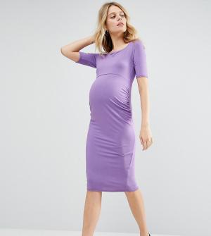 ASOS Maternity Платье с открытыми плечами для беременных. Цвет: фиолетовый