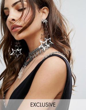 Reclaimed Vintage Серьги-подвески со звездами. Цвет: серебряный