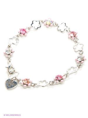 Браслет Розовый цветок CHARM IT. Цвет: серебристый, розовый