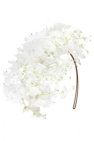 Ободок с цветами и кружевом Philip Treacy. Цвет: белый