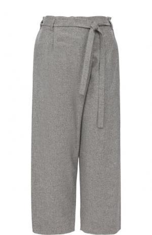 Укороченные кашемировые брюки с поясом Loro Piana. Цвет: светло-серый