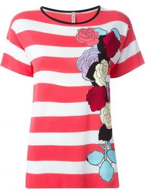 Топ в полоску с цветочной аппликацией Antonio Marras. Цвет: розовый и фиолетовый