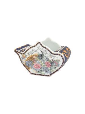 Подставка для чайных пакетиков  Павлин на золоте Elan Gallery. Цвет: темно-синий, белый, золотистый