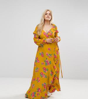 ASOS Curve Платье макси с длинными рукавами и цветочным принтом. Цвет: мульти