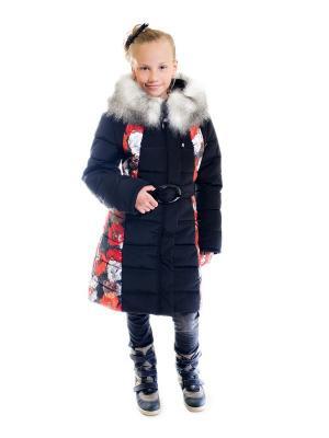 Пальто для девочки Диана Disvey. Цвет: черный