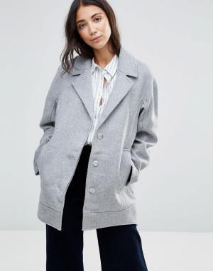 Parka London Шерстяное пальто-бушлат Agda. Цвет: серый
