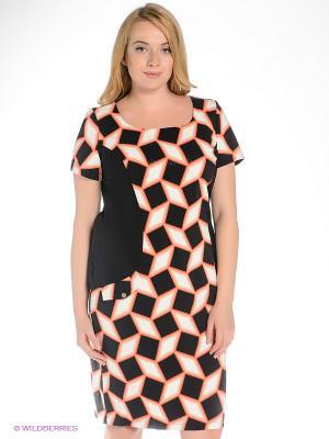 Платье Gemko plus size. Цвет: коралловый, кремовый, черный