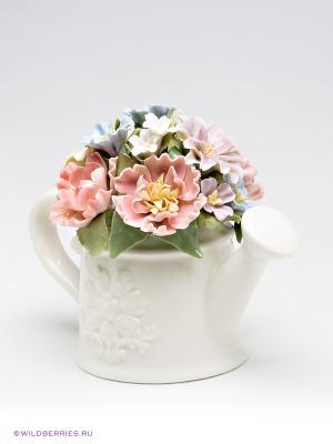 Музыкальная композиция Лейка с цветами Pavone. Цвет: молочный, светло-зеленый, светло-коралловый