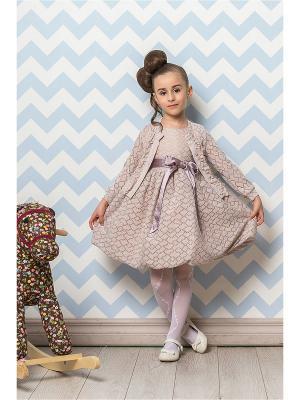 Комплект для девочек (платье, кофта) Perlitta. Цвет: персиковый