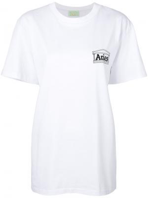 Футболка с принтом логотипом Aries. Цвет: белый