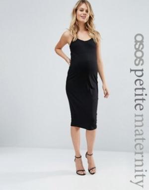 ASOS Maternity Платье миди для беременных на бретельках PETITE. Цвет: черный