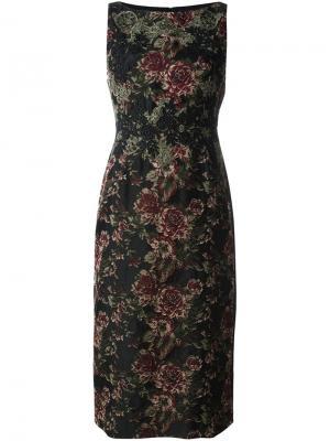 Жаккардовое платье с цветочным узором Antonio Marras. Цвет: чёрный
