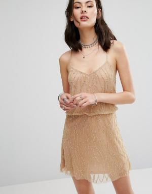 Raga Платье с бисером Dust In Wind. Цвет: кремовый