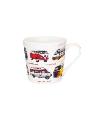 Кружка Автобусы Elan Gallery. Цвет: красный, желтый, синий