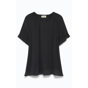 Блузка струящаяся с короткими рукавами AZAWOOD AMERICAN VINTAGE. Цвет: охра,сероватый