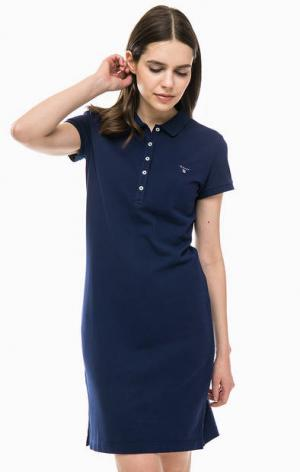 Платье-футболка с отложным воротничком Gant. Цвет: синий