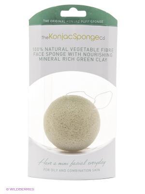 Воздушный спонж Конняку для лица Premium (с зеленой глиной) The Konjac Sponge Company. Цвет: зеленый