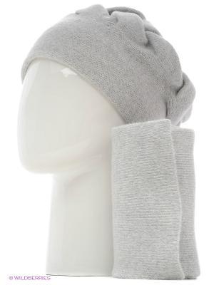 Шапка, шарф Vittorio Richi. Цвет: светло-серый