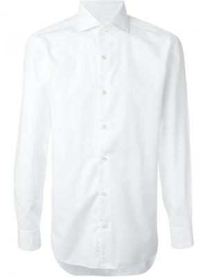 Рубашка с классическим воротником Barba. Цвет: белый
